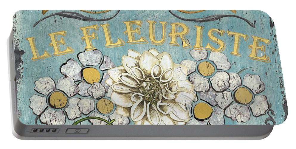 Flowers Portable Battery Charger featuring the painting Le Fleuriste de Botanique by Debbie DeWitt
