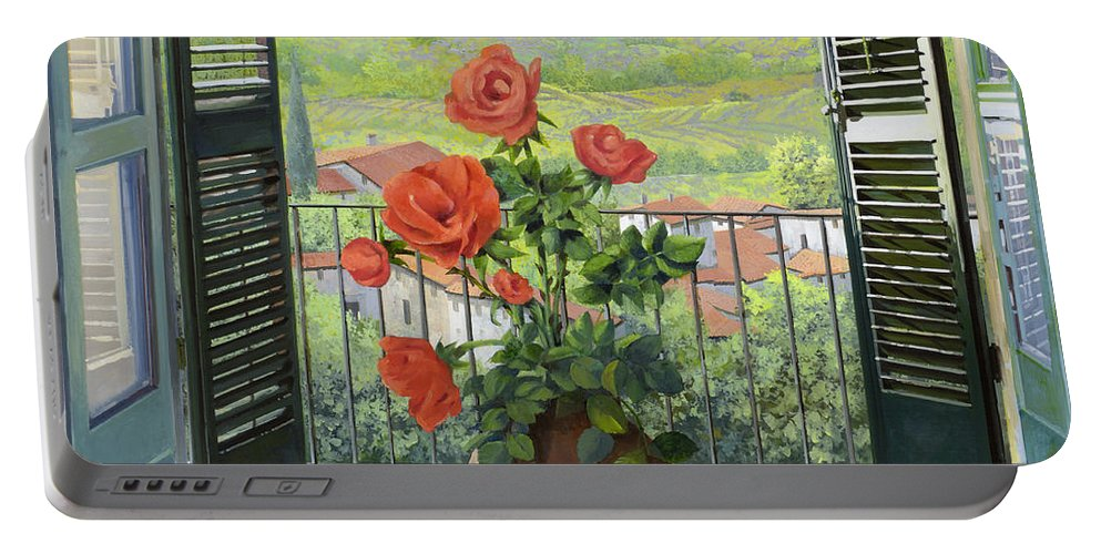 Landscape Portable Battery Charger featuring the painting Le Persiane Sulla Valle by Guido Borelli