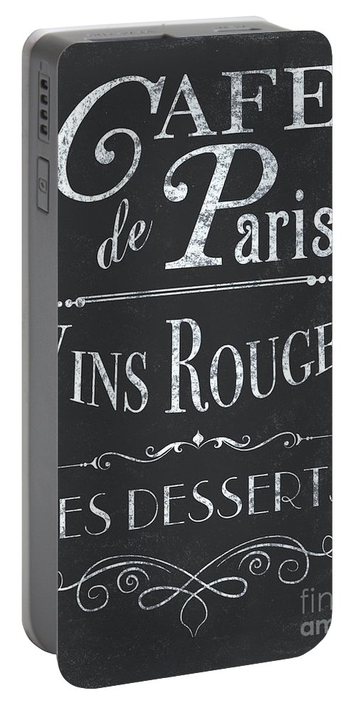 Cafe Portable Battery Charger featuring the painting Le Petite Bistro 2 by Debbie DeWitt