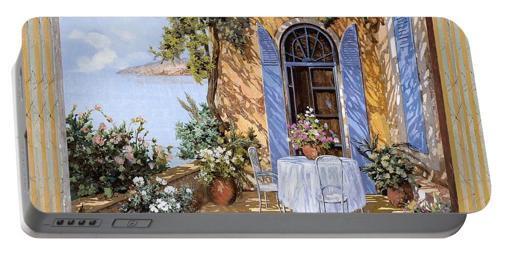 Blue Door Portable Battery Charger featuring the painting Le Porte Blu by Guido Borelli