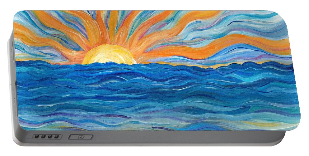 Sunrise Portable Battery Charger featuring the painting Le Soleil by Bev Veals