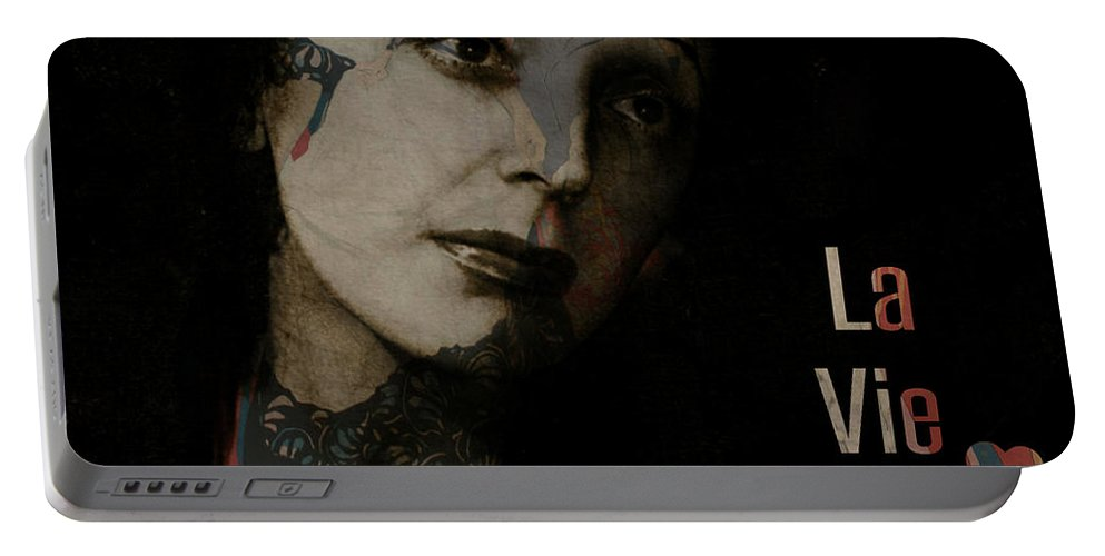Edith Piaf Portable Battery Charger featuring the digital art Le Vie En Rose by Paul Lovering