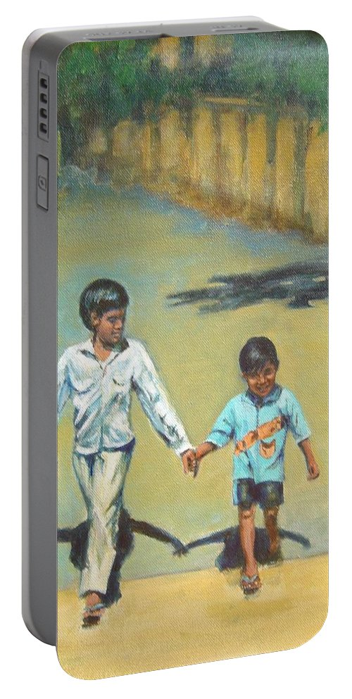 Lead Portable Battery Charger featuring the painting Lead Kindly Brother by Usha Shantharam