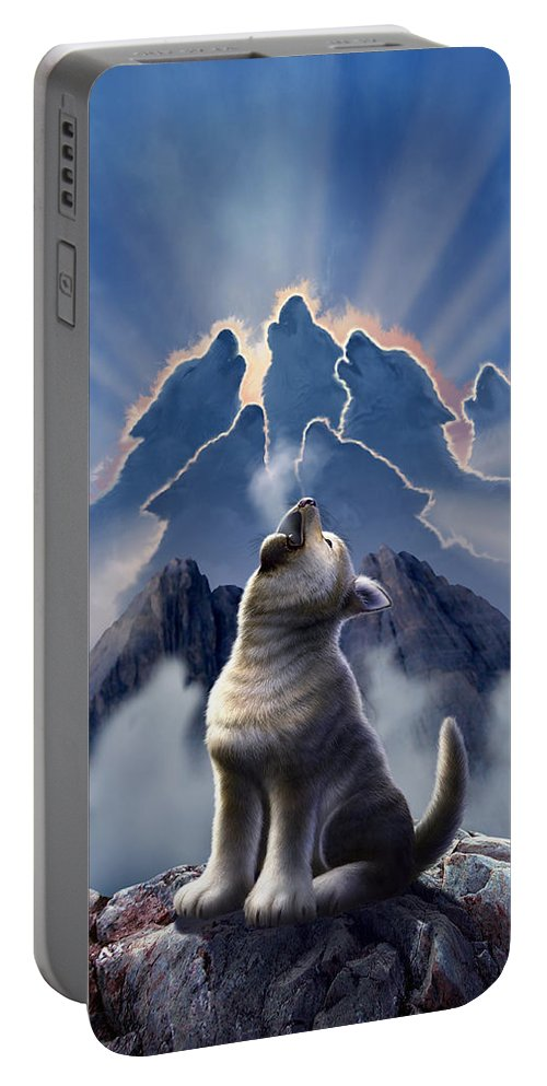 Wolf Portable Battery Charger featuring the digital art Leader Of The Pack by Jerry LoFaro