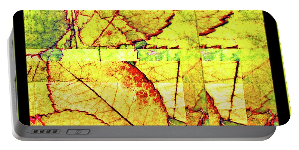 Autumn Portable Battery Charger featuring the digital art Leaf Abstract by Joan Minchak