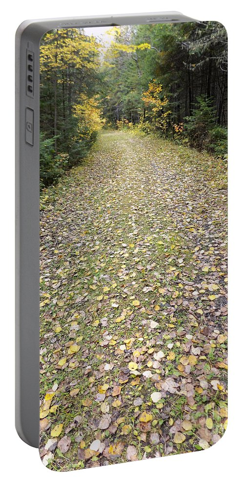 Trail Portable Battery Charger featuring the photograph Leaf-strewn Trail by William Tasker