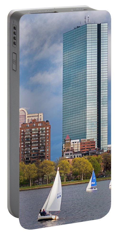 Boston Portable Battery Charger featuring the photograph Lean Into It- Sailboats By The Hancock On The Charles River Boston Ma by Toby McGuire