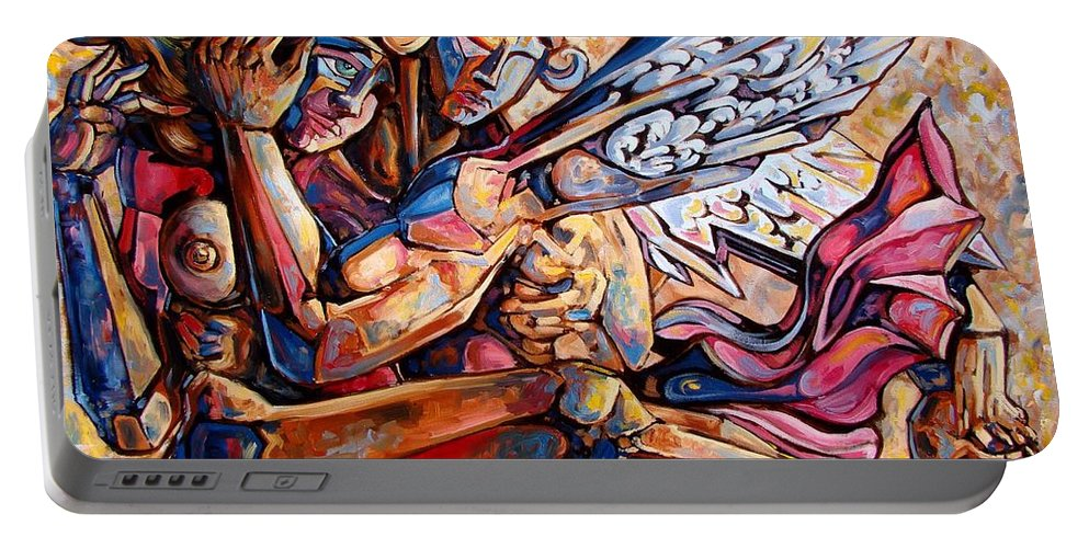 Surrealism Portable Battery Charger featuring the painting Lean On Me by Darwin Leon