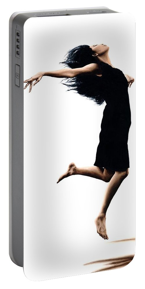 Ballet Portable Battery Charger featuring the painting Leap into the Unknown by Richard Young