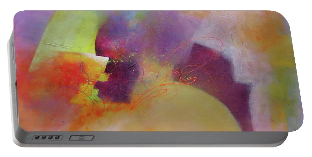 Abstract Portable Battery Charger featuring the painting Leap Of Faith by Cecilia Swatton