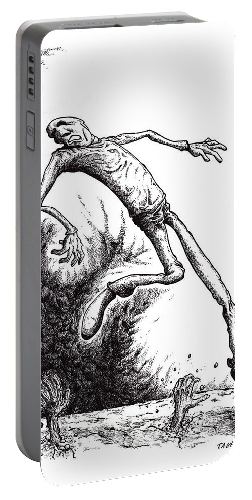 Black And White Portable Battery Charger featuring the drawing Leap by Tobey Anderson