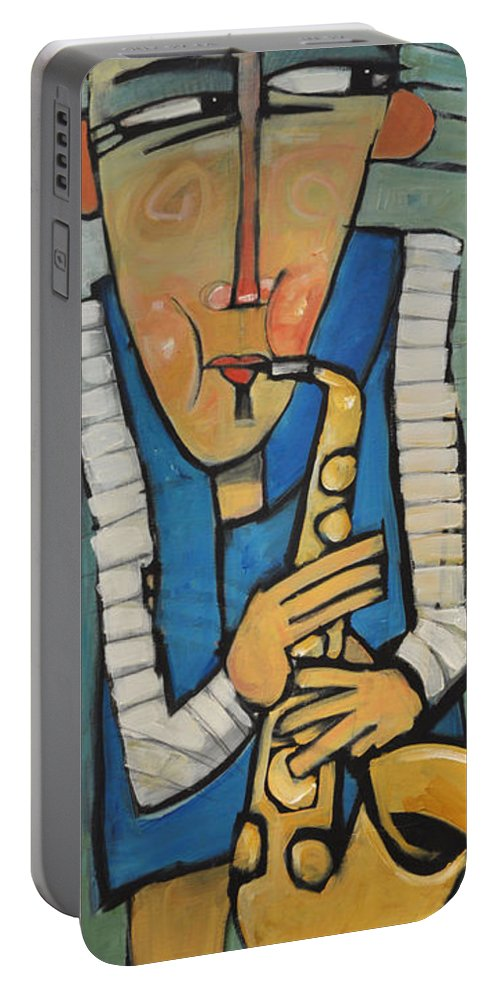 Sax Portable Battery Charger featuring the painting Learn To Work The Saxophone by Tim Nyberg