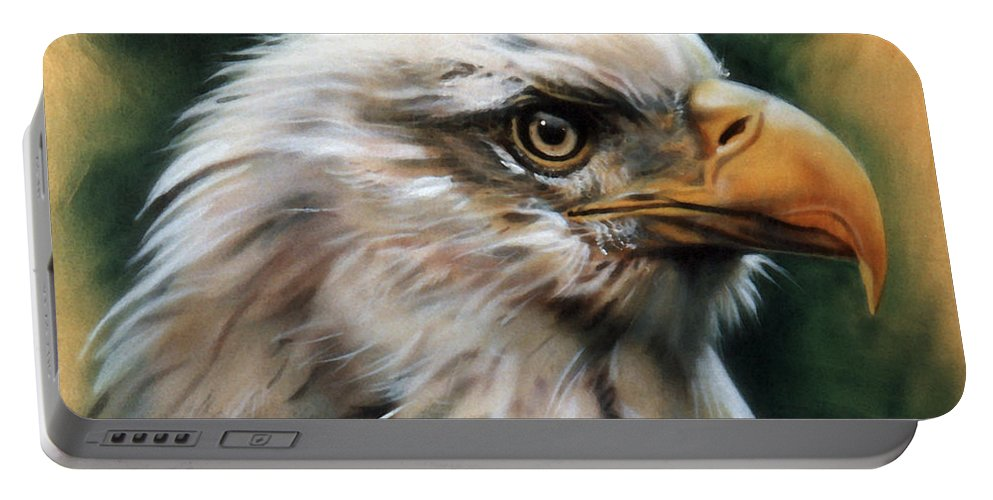 Southwest Art Portable Battery Charger featuring the painting Leather Eagle by J W Baker