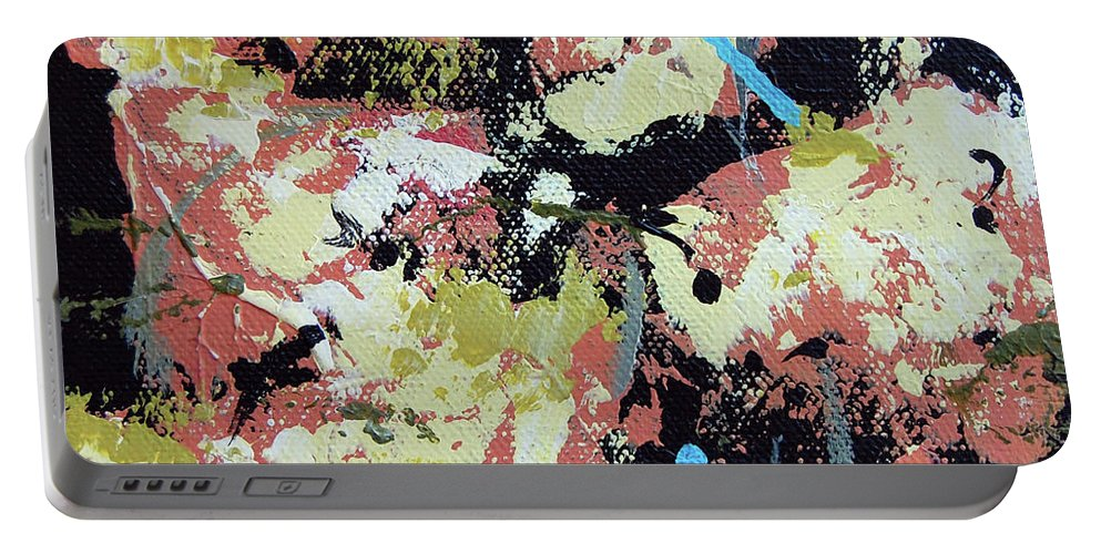 Abstract Portable Battery Charger featuring the painting Leather Weather by Dave Jones