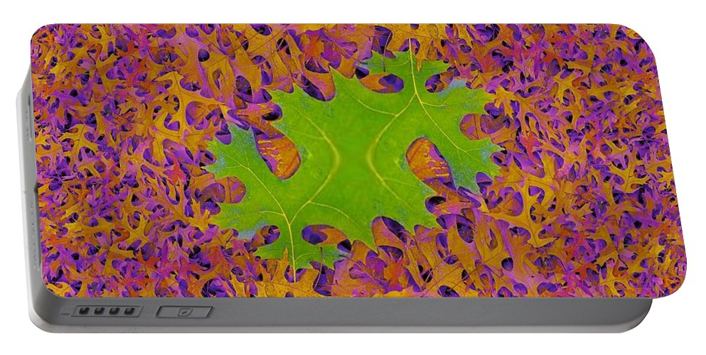 Leaves Portable Battery Charger featuring the photograph Leaves In Fractal 2 by Tim Allen