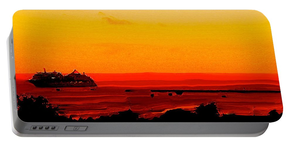 Abstract Portable Battery Charger featuring the digital art Leaving Basseterre by Ian MacDonald