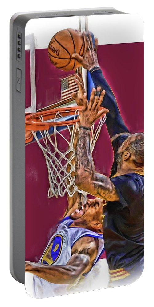 Lebron James Portable Battery Charger featuring the mixed media Lebron James Cleveland Cavaliers Oil Art by Joe Hamilton