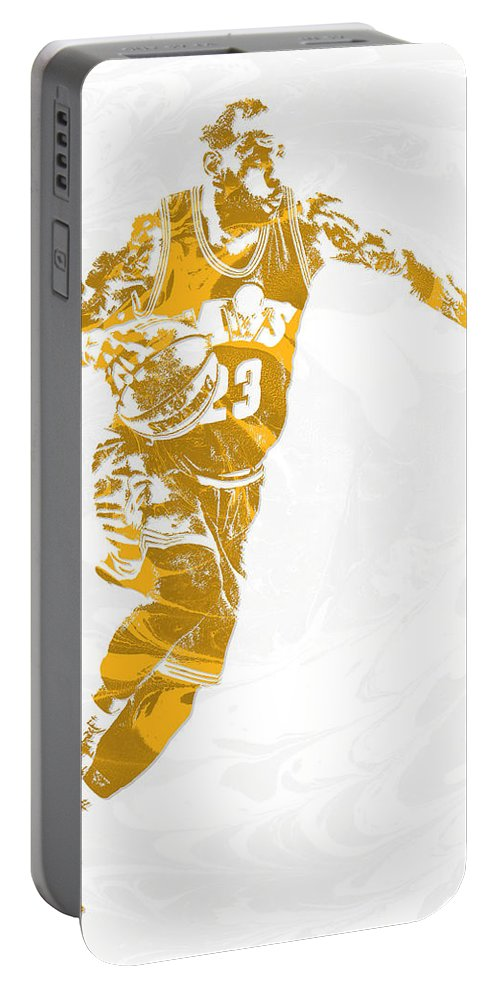 Lebron James Portable Battery Charger featuring the mixed media Lebron James Cleveland Cavaliers Pixel Art 14 by Joe Hamilton