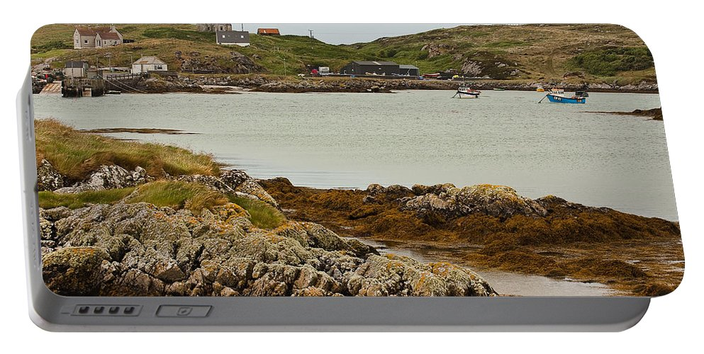Scotland Portable Battery Charger featuring the photograph Ledaig Harbour by Colette Panaioti