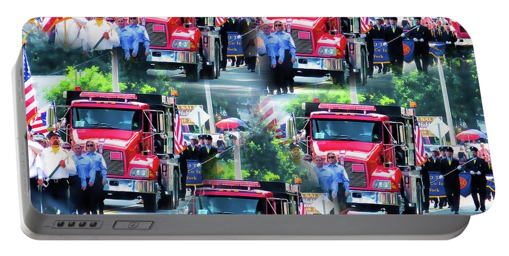 Leeds Fire Dept. Portable Battery Charger featuring the painting Leeds Fire Dept. 1 by Jeelan Clark