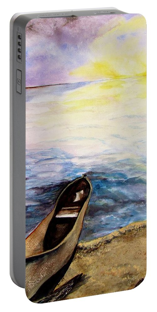 Canoe Portable Battery Charger featuring the painting Left Alone by Lil Taylor