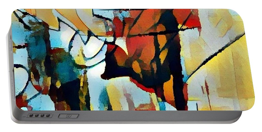 Abstract Oil Painting Portable Battery Charger featuring the painting Left To Die Upon The Ground by Paulo Guimaraes