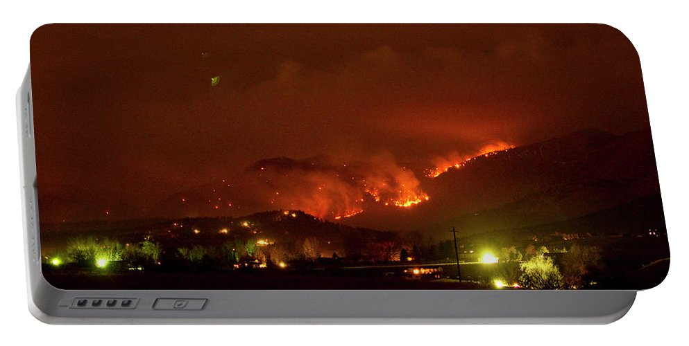 Lefthand Canyon Wildfire Portable Battery Charger featuring the photograph Lefthand Canyon Wildfire Boulder County Colorado 3-11-2011 by James BO Insogna