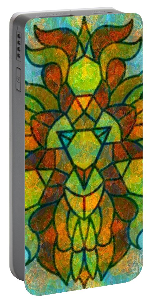 Abstract Portable Battery Charger featuring the digital art Legacy Lion Celebration2 by Trent Jackson