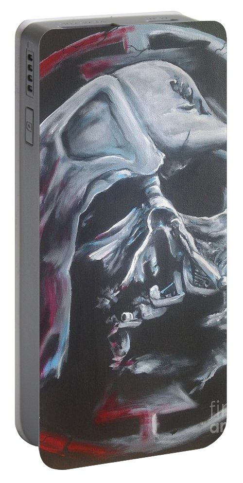 Darth Portable Battery Charger featuring the painting Legacy's End by Tyler Haddox