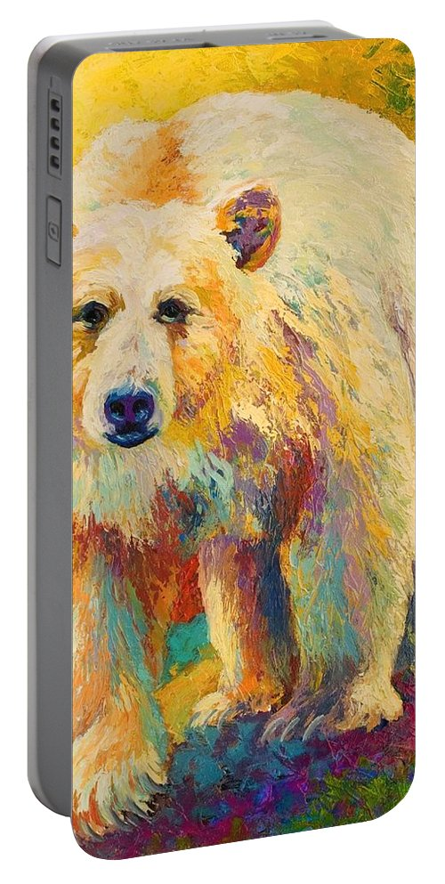Kermode Portable Battery Charger featuring the painting Legend Of The Misty Fjords by Marion Rose