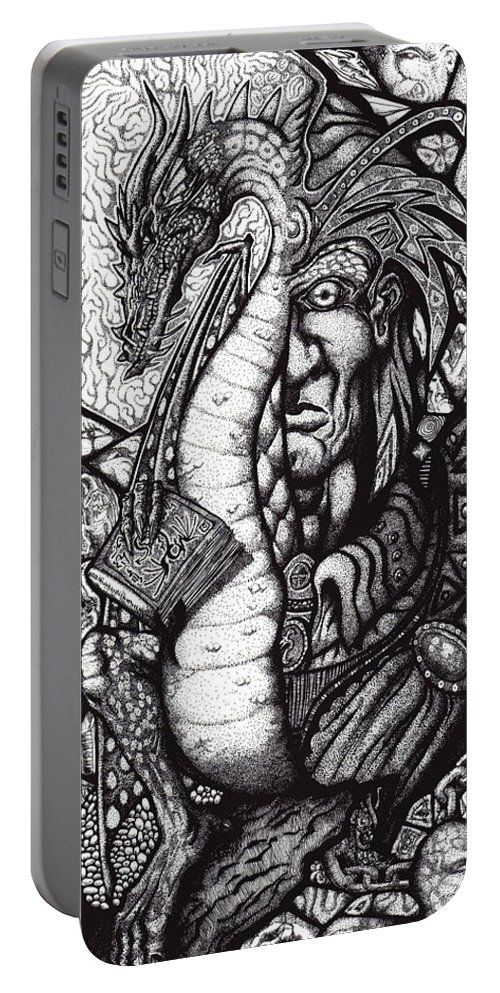 Pen And Ink Portable Battery Charger featuring the drawing Legend by Tobey Anderson