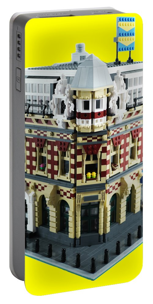 Lego Portable Battery Charger featuring the photograph Lego Corner Shop And Apartments by Brian Lyles