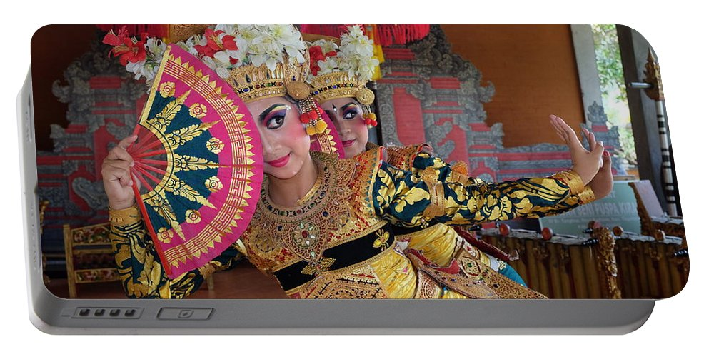 Legong Portable Battery Charger featuring the photograph Legong Dancer by Sulendra Wayan