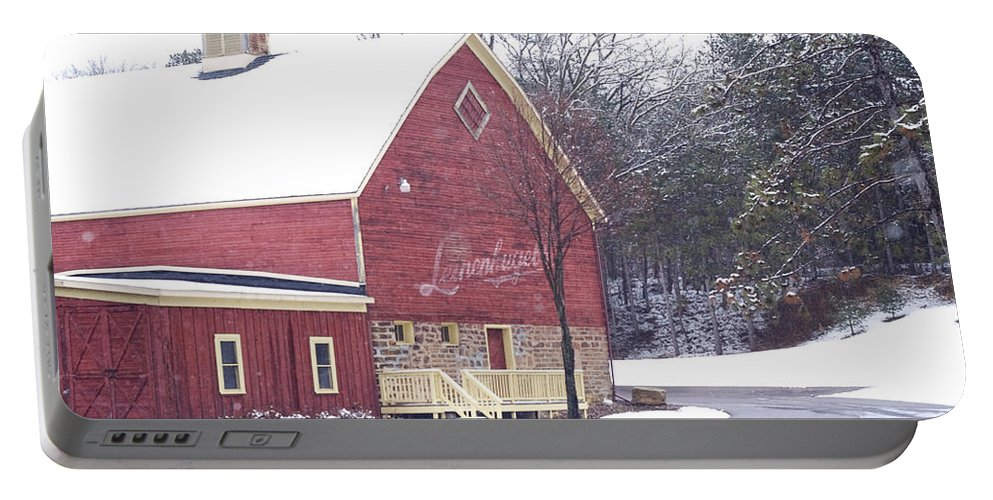 Barn Portable Battery Charger featuring the photograph Leinie by Tim Nyberg