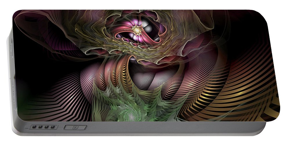 Abstract Portable Battery Charger featuring the digital art Leitmotif Number Four by Casey Kotas