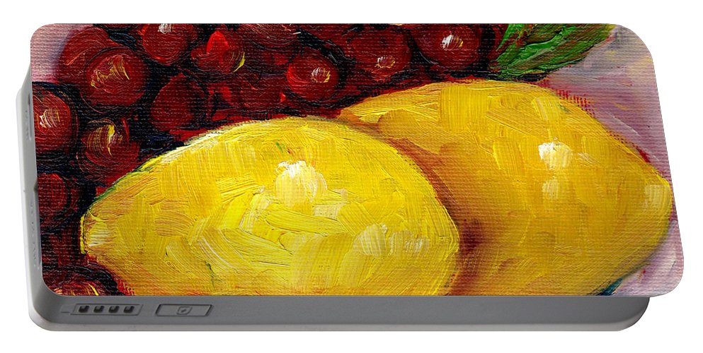 Still Life Portable Battery Charger featuring the painting Lemon And Grapes Still Life Grace Venditti Montreal Art by Grace Venditti