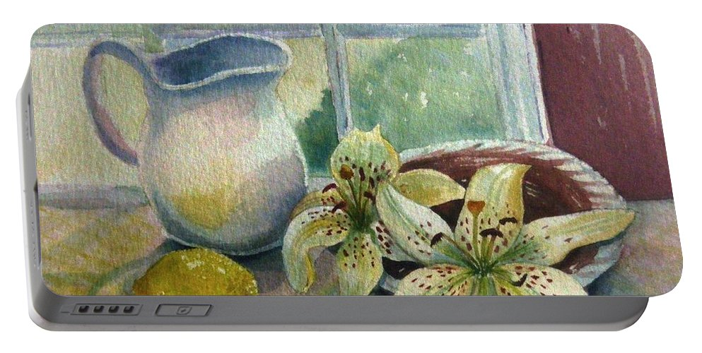 Still Life Portable Battery Charger featuring the painting Lemon And Lillies by Marilyn Smith