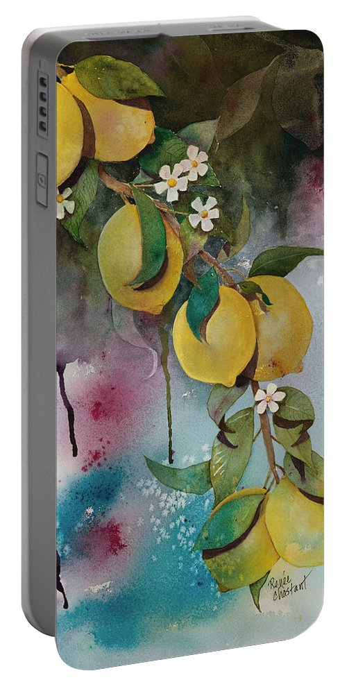 Lemons Portable Battery Charger featuring the painting Lemons On Blue by Renee Chastant
