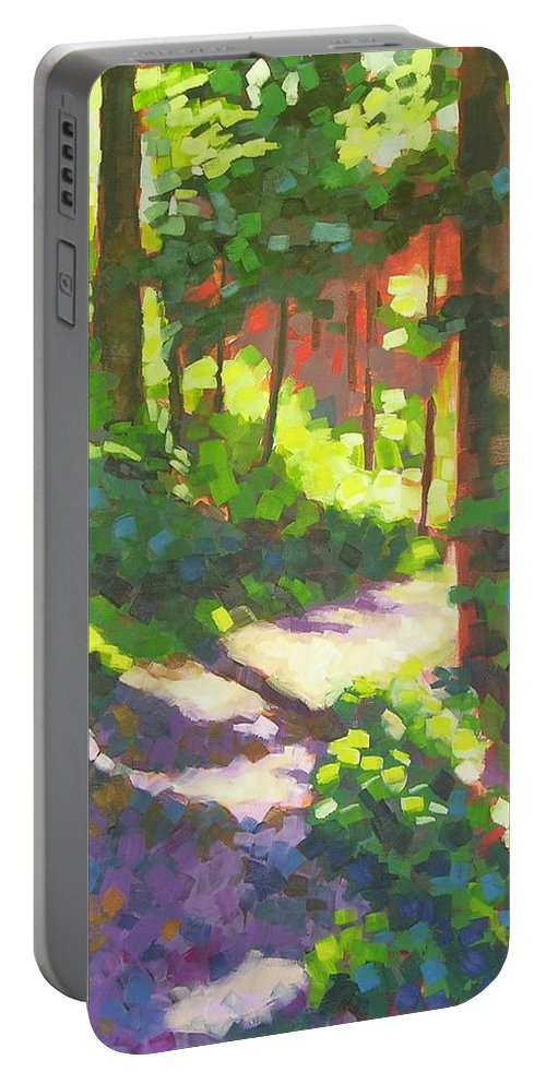 Landscape Portable Battery Charger featuring the painting Lena Lake Trail II by Mary McInnis