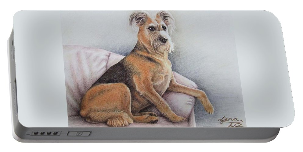 Dog Portable Battery Charger featuring the pastel Lena by Nicole Zeug