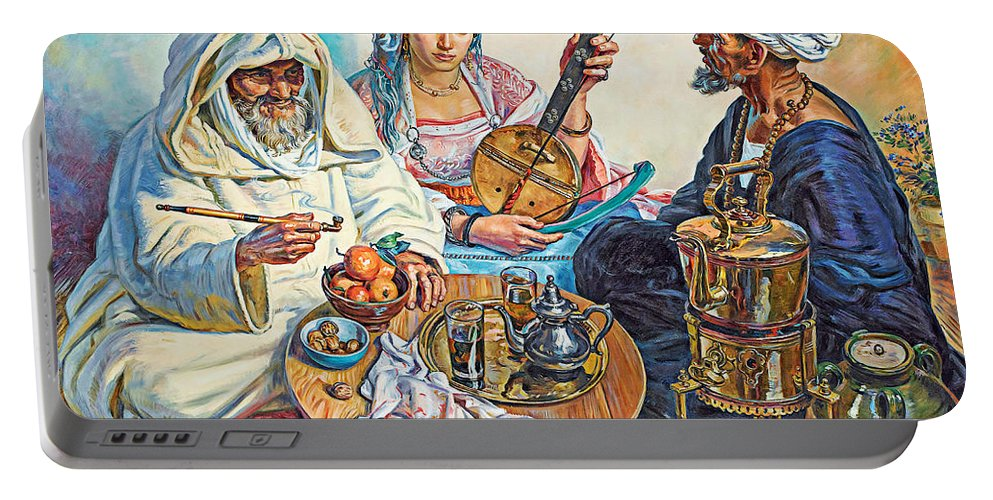 L. Endres Maroc Portable Battery Charger featuring the painting L.endres Maroc Painting by Munir Alawi