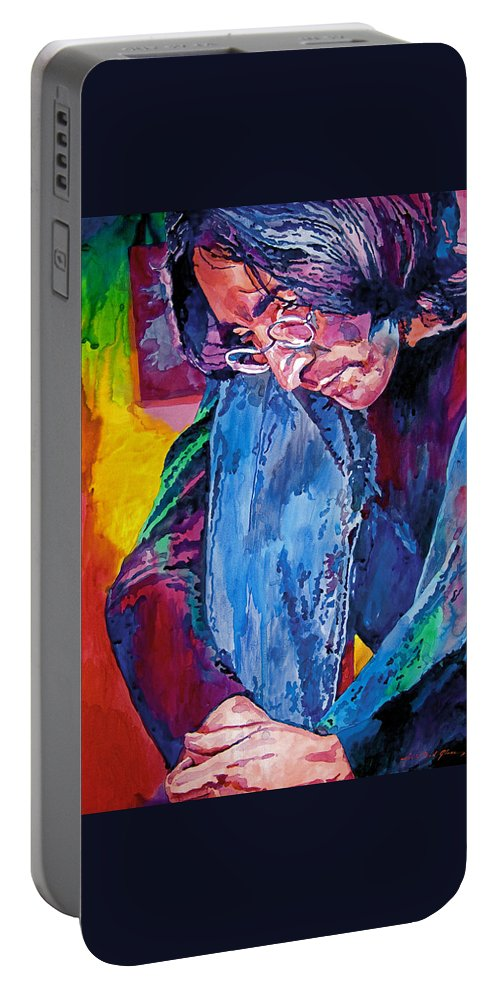 Rock Star Portable Battery Charger featuring the painting Lennon In Repose by David Lloyd Glover