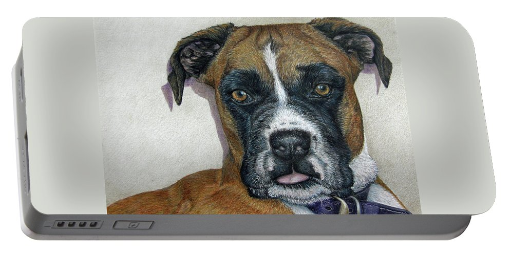 Fuqua - Artwork Portable Battery Charger featuring the drawing Lennox by Beverly Fuqua