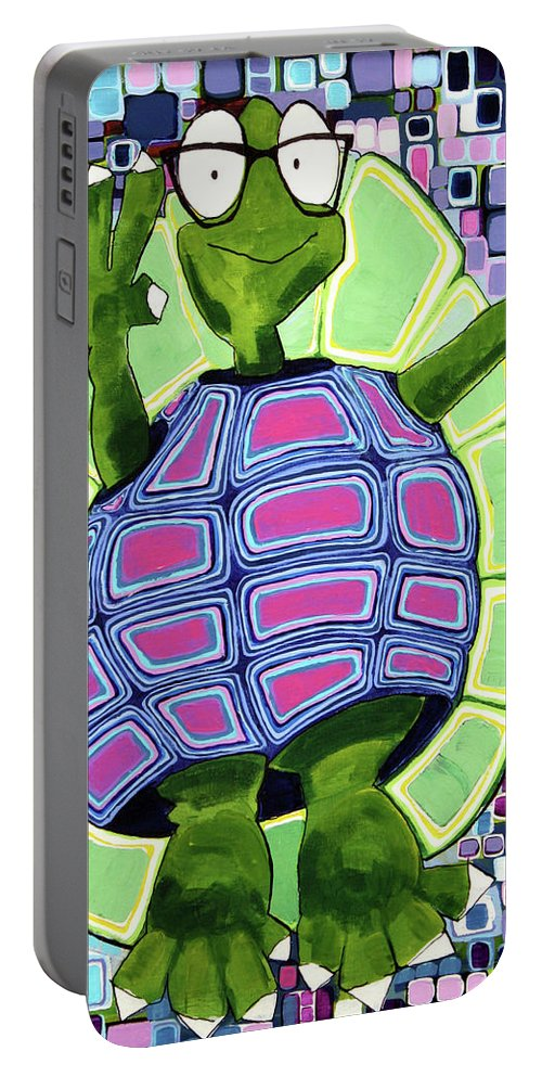 Turtle Portable Battery Charger featuring the painting Leo At 21 by Donna Howard