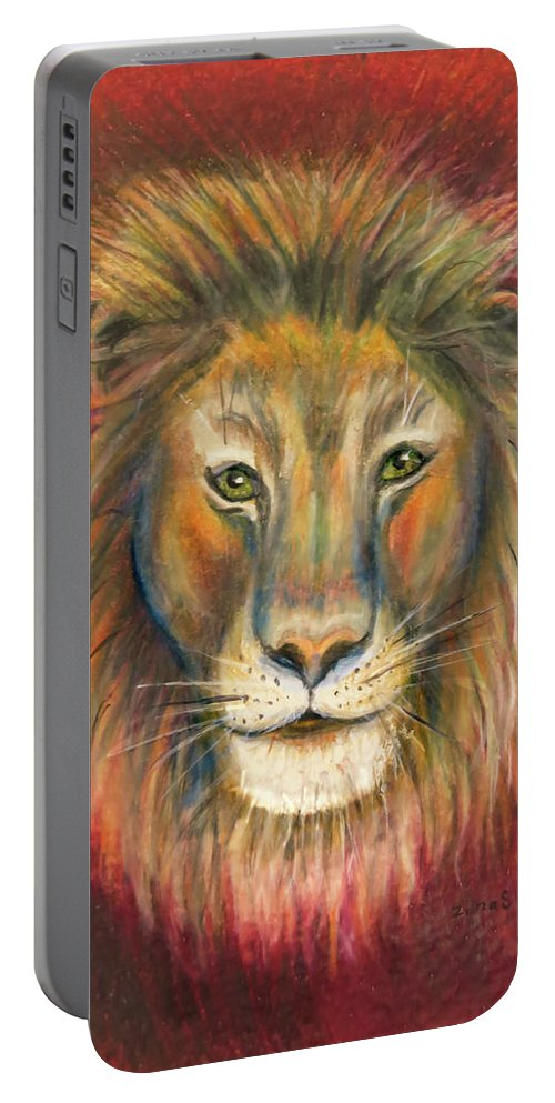 Leo Portable Battery Charger featuring the drawing Leo by Zina Stromberg