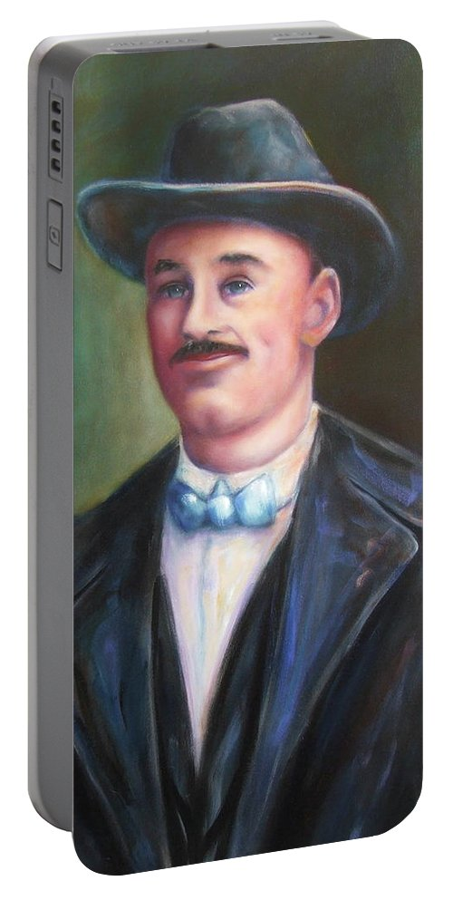 Portrait Portable Battery Charger featuring the painting Leonard Mckay by Shannon Grissom