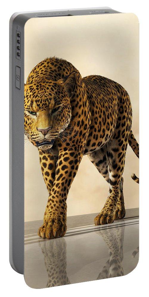 Leopard Portable Battery Charger featuring the digital art Leopard by Daniel Eskridge