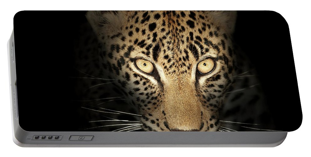 Leopard Portable Battery Charger featuring the photograph Leopard In The Dark by Johan Swanepoel