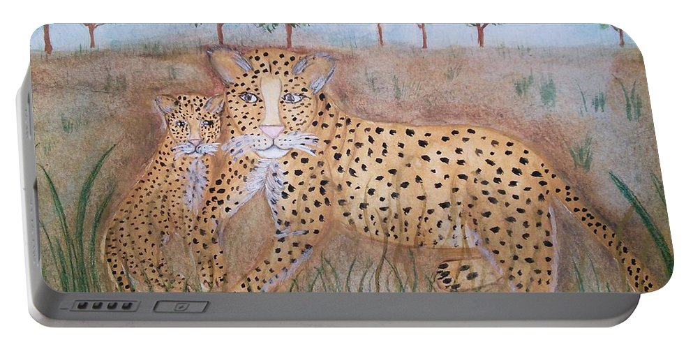 Whimsical Leopard With Cub Portable Battery Charger featuring the painting Leopard With Cub by Susan Nielsen