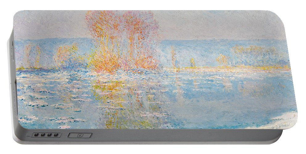 Claude Monet Portable Battery Charger featuring the painting Les Glacons. Bennecourt by Claude Monet